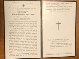 Maria-Helena Switten Echtg Timmermans Antoon *1891 Diepenbeek +1958 Rapertingen Hasselt Steegmans Blokken Doodsprentje - Obituary Notices
