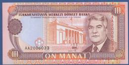 TURKMENISTAN - P.3 – 10 MANAT 1993   UNC  Prefix AA - Turkmenistan