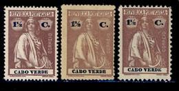 ! ! Cabo Verde - 1914 Ceres 1 1/2 C (3 Differents Papers & Perfs) - Af. 139 - MH - Kapverdische Inseln