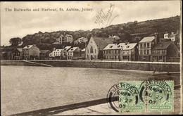 CPA St. Aubins Jersey Kanalinseln, The Bulwarks And Harbour, Hafenpartie, Häuser - Otros