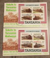 TANZANIA OFFICIAL 2 FDC OVERPRINT GOLD&SILVER  CARIBBEAN ROYAL VISIT 1985 - Otros (Tierra)