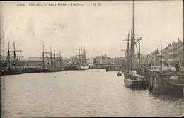 CPA Saint Helier Jersey Kanalinseln, Harbour, Hafenpartie - Otros