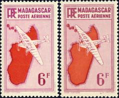 MADAGASCAR - 1941 Yv.PA21x2, Maury PA22 & PA69 6fr Les 2 Tirages De 1941 & 43* - Airmail