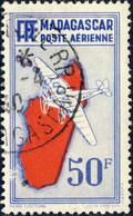 MADAGASCAR - 1938 - Yv.PA14 50fr Outremer Avion & Ile Rouge - Oblitéré TB - Luftpost