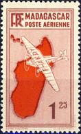MADAGASCAR - 1935 - Yv.PA2 1fr25 Lie De Vin Avion & Carte Rouge - Neuf** - Airmail