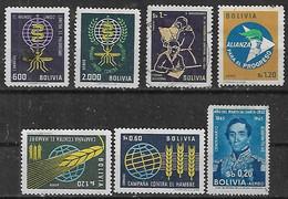 1962-3 Bolivia Paludismo-revolucion Nacional-alianza Para El Progreso-hambre -santa Cruz 7v. - Bolivien