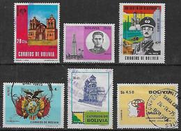 1971-2 Bolivia Edificio-personaje Petroleo-escudo-catedral-expo Filatelia 6v. - Bolivien
