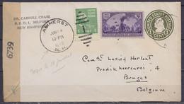 USA - EP Env. 1c + 4c Càd AMHERST /JUN 14 1945 (New Hampshire) Pour Commandant Herlant à BRUGES - Bande Censure US - Covers & Documents