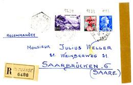 MOSELLE ENV 1959 CLOUANGE AGENCE POSTALE LETTRE RECOMMANDEE = > SARRE - 1921-1960: Modern Tijdperk