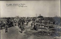 CPA Ham Somme, Vorgehende Deutsche Kolonnen Auf Der Straße, Kriegszerstörungen, I WK - Otros Municipios
