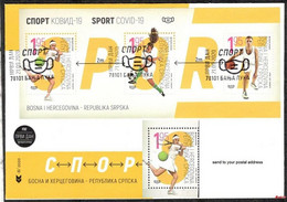 Bosnia Srpska - Sport COVID -19 Mini Sheet 2020 R FDC Send To Your Postal Address - Bosnia And Herzegovina