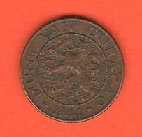 Curacao 1 Cent 1944 Bronze Coin - Curacao