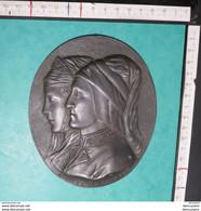 190419 - M V - Italian Bronzed Pewter Plaques 'Dante E Beatrice - Italiaanse Gebronsde Tinnen Platen 'Dante E Beatrice' - Bronzen