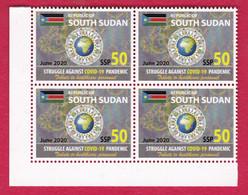 SOUTH SUDAN  Block 4x50 SSP Stamp 2020 Stamp Issue Health Workers Fighting Covid-19 Pandemic SOUDAN Du Sud Südsudan - South Sudan
