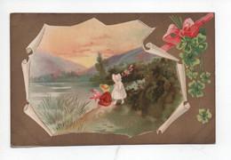 2  Enfants  En  Belle  Paysage   En Cadre  Dorée Avec  Ruban Et  Trèfle - Kinder-Zeichnungen