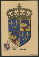 """N° 954 Blason Dauphiné Sur CARTE MAXIMUM + Cachet à Date Illustré """"Journée Du Timbre Grenoble 20/3/1954"""". TB - 1950-59"""