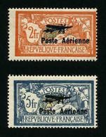FRANCE - POSTE AERIENNE - YT PA 1 Et 2 * - SIGNES - PA 2 Avec Variété Hauban Brisé - 2 TIMBRES NEUFS * - 1927-1959 Nuovi