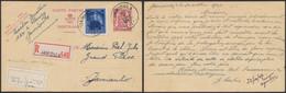 """EP Au Type 65ctm Lilas En Recommandé + N°748 De Jamioulx (1947) > Jamioulx + étiquette Bilingue """"Absent"""" / Pli - Cartoline [1934-51]"""