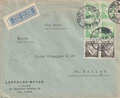 Portugal Lettre Par Avion Pour La Suisse 1943 - Briefe U. Dokumente