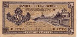 Indochine Indochina Indocina 20 Piastres ND (1942-1945) Pick 71 Presque Neuf UNC- Voir See Vedi  Scan - Indochina
