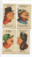 Magie Tête-bêche Biface Quatre Chromos Papier Italien Tripoli Soldat Allemand Clown Femme Chapeau Langue Allemande - Andere