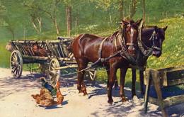 DC5823 - Ak Schöne Motivkarte Pferde Gespann Kutsche Wagen Hühner - Pferde