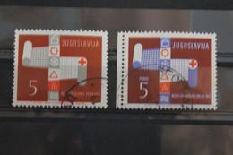 Jugoslawien, Rotes Kreuz 1962, Abart: Farbe Blau Fehlt; Mit Vergleichsstück - Gebraucht