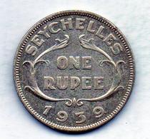 SEYCHELLES, 1 Rupee, Silver, Year 1939, KM #4 - Seychelles