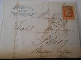 France Napoleon 3 Laure , Lettre De Lyon 1869 Pour Riez - 1863-1870 Napoleon III Gelauwerd