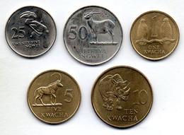 ZAMBIA, Set Of Five, 25, 50 Ngwee, 1, 5, 10 Kwacha, Brass, Nickel, Year 1992, KM #29, 30, 38, 31, 32 - Zambia