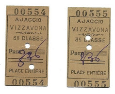 AJACCIO VIZZANOVA - 2 Tickets AVEC N° SUCCESSIFS (!!!) - 3ème Classe - Place Entière - Bel état - CORSE - Europa