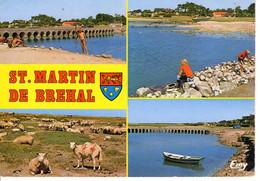50 Manche Saint Martin De Brehal Gaugain Chausée Le Comte 1988 Multi Vue Pont Animaux Mouton Peche Barque - Other Municipalities