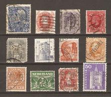 Europe - Perfins - Perforés - Petit Lot De 12° - Autriche - Danemark - Espagne - GB - Hongrie - Irlande - Italie - Luxem - Kilowaar (max. 999 Zegels)
