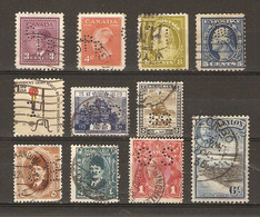 Monde - Perfins - Perforés - Petit Lot De 11° - Canada - USA - Japon - Soudan -Ceylan - Egypte - Australie - Kilowaar (max. 999 Zegels)