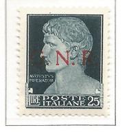 Italy Italien Italie Italia 1943 RSI R.S.I. GNR G.N.R. Imperiale L.25  MNH ** Firmata Oliva Certificabile - Mint/hinged