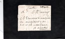 Lettre De 1751 De MILLAU Pour NANTES Adressée Monsieur Le Marquis De MONTPLAISIR - 1701-1800: Precursors XVIII