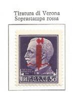 Italy Italien Italie Italia 1944 RSI R.S.I. GNR G.N.R. Fascio  L.50  MNH** Tir. Verona Firmata Oliva Certificato - Mint/hinged