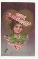 """Tres  Belle  Carte  De  Tete  De  Petite  Fille  Avec  Fleurs  Et  Coeurs  Dorés   -  """"Bonne  Année  """" - 1900-1949"""