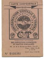 CARTE CONFEDERALE CGT 1948 - Industries Chimiques - Contremaître - Neuvilles-sur -Escaut - Bouchain - Nord - Syndicat - Unclassified