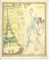 MENU VIERGE COMPAGNIE TRANSATLANTIQUE FRENCH LINE S.S. PARIS Par LABOCCETTA - Double Page - Années 30 - Menus