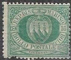 San Marino    1892   Sc#8  10c  Green  MH    2016 Scott Value $9.25 - Ungebraucht