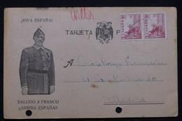 ESPAGNE - Carte Patriotique De Franco, De Murguia Pour La Croix Rouge Française à Madrid En 1943 -  L 93500 - 1931-50 Cartas