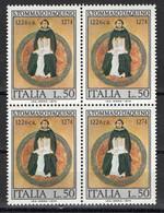 Italia 1974 SAN TOMMASO D'AQUINO SERIE COMPLETA Lire 50 Nuovi In Quartina - Christianity