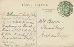 "GB SCOTTIS VILLAGE POSTMARKS ""KIRKCUDBRIGHT"" Superb Strike (29mm, Time Code ""4 30 PM"") On VF Vintage Postcard 1905 - Escocia"
