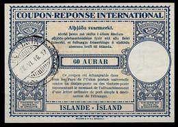ISLANDE / ICELAND Lo14 60 AURARInternational Reply Coupon Reponse Antwortschein IAS IRC O REYKJAVIK 28.06.46 - Enteros Postales