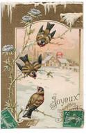 L330A0203 - Joyeux Noël - Dessin D'oiseaux Sur Chardon Et Paysage De Neige - Carte Gauffrée - Série 1837 - Altri