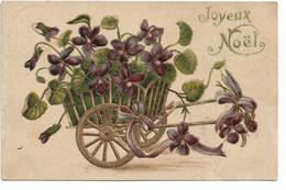 L330A0205 - Joyeux Noël - Dessin Charette De Violettes - Carte Gauffrée - Altri