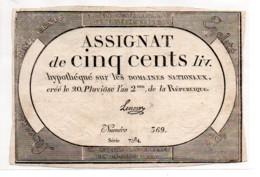 ASSIGNAT DE  CINQ CENTS LIVRES - Assignats