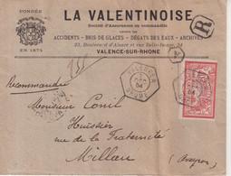 """FRANCE : 40 C . TYPE MERSON . SEUL SUR LETTRE A ENTETE . REC . OBL . """" VALENCE A  DROME """" . 1904 . - Briefe U. Dokumente"""