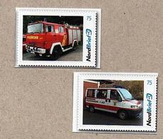 BRD - Privatpost - Nordbrief  - Feuerwehr Fire - Auto Car - 2 Werte Feuerwehrautos - Firemen